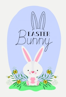 Tarjeta de pascua feliz con conejo en el jardín