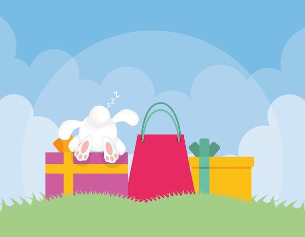 Tarjeta de pascua feliz con conejo y regalos en la escena del campamento, diseño de ilustraciones vectoriales