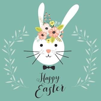 Tarjeta de pascua feliz con conejo.