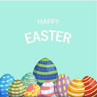 Tarjeta de pascua feliz con huevos para colorear