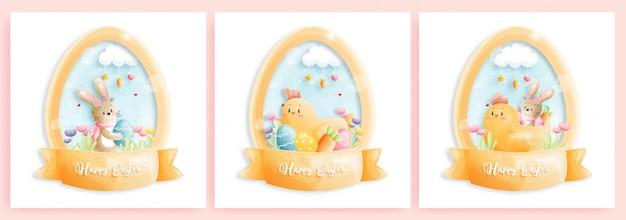 Tarjeta de pascua feliz con lindos conejitos en forma de huevo.