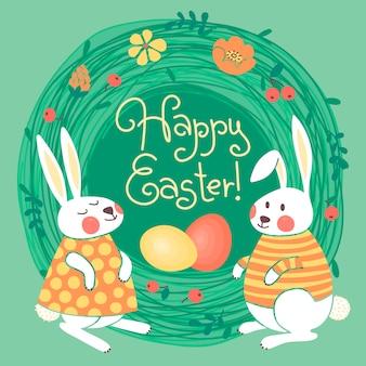 Tarjeta de pascua feliz con lindos conejitos y huevos de colores.