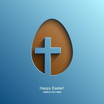 Tarjeta de pascua en forma de huevo con la imagen de una cruz cristiana, fondo de pascua