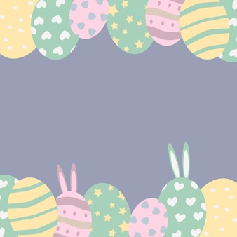 Tarjeta de pascua huevos de pascua estilo de dibujos animados ilustración vectorial diseño de espacio de copia para banner, cartel, postal, embalaje