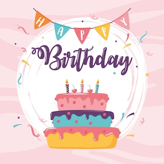Tarjeta de pastel de celebración de cumpleaños feliz
