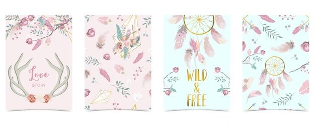 Tarjeta pastel con pluma, flor, hoja