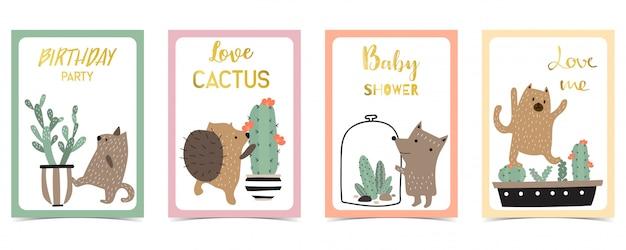 Tarjeta pastel con puercoespín, cactus.