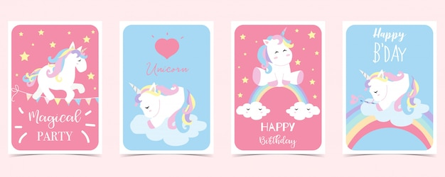 Tarjeta pastel con unicornio