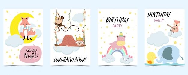 Tarjeta pastel con zorro, mono, arcoiris, pato