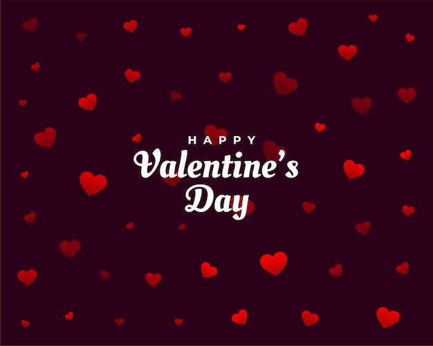 Tarjeta de patrón de corazones de feliz día de san valentín