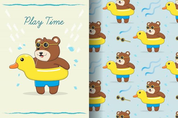 Tarjeta y patrón sin fisuras de anillo de natación de pato de goma lindo oso