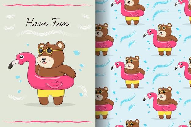 Tarjeta y patrón sin fisuras de lindo oso flamenco nadar anillo