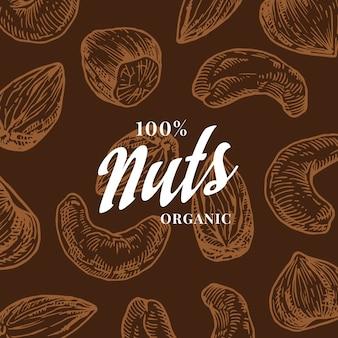 Tarjeta de patrón de frutos secos dibujados a mano. fondo de dibujo abstracto anacardo, avellana y almendra