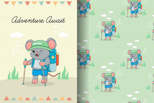Tarjeta y patrones sin fisuras de cumpleaños lindo ratón