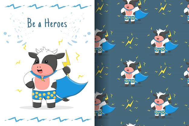 Tarjeta y patrones sin fisuras de héroes de rayo lindo vaca