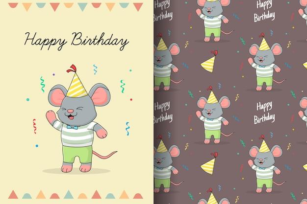 Tarjeta y patrones sin fisuras lindo feliz cumpleaños ratón