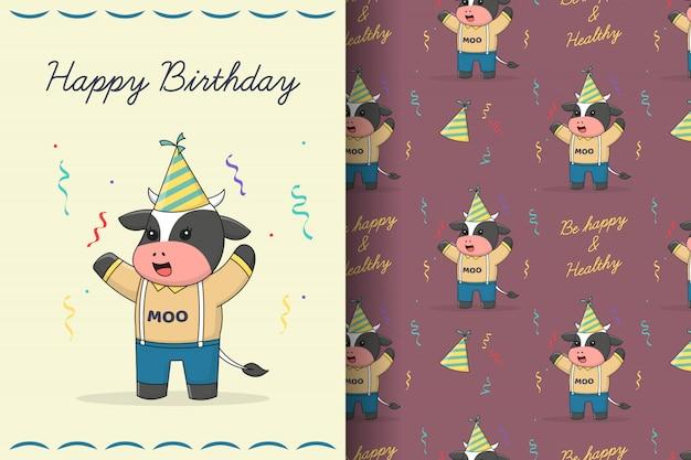 Tarjeta y patrones sin fisuras de lindo feliz cumpleaños vaca