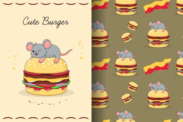 Tarjeta y patrones sin fisuras lindo ratón burger