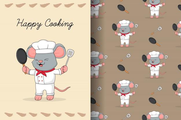 Tarjeta y patrones sin fisuras de lindo ratón chef