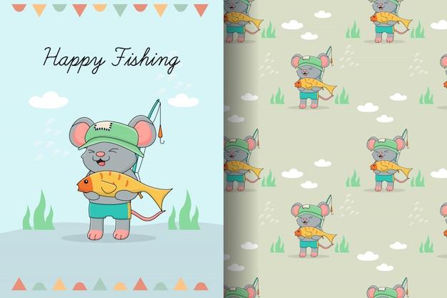 Tarjeta y patrones sin fisuras de lindo ratón pescador