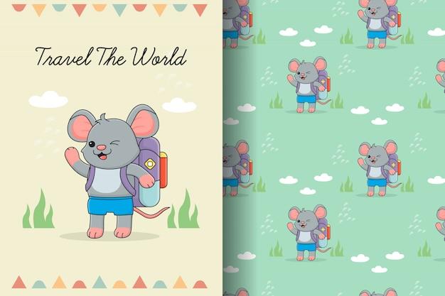 Tarjeta y patrones sin fisuras de lindo ratón viajero