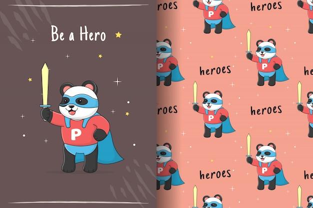 Tarjeta y patrones sin fisuras de lindo superhéroe panda