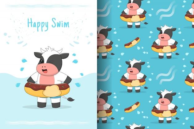 Tarjeta y patrones sin fisuras de vaca linda natación
