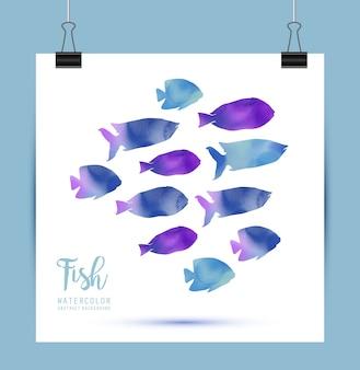 Tarjeta con peces de acuarelas