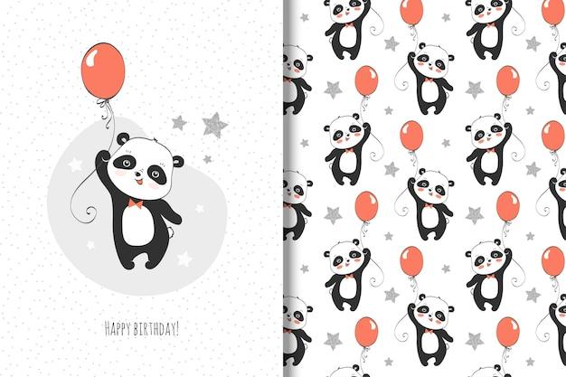 Tarjeta pequeña panda linda y patrones sin fisuras para niños