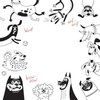 Tarjeta con perros alegres y cachorros felices. fondo con mestizos, perros pastores, perros salchicha, perros falderos y otras razas