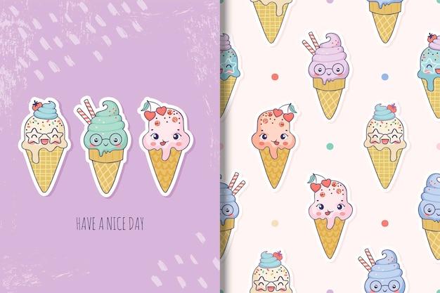 Tarjeta de personajes de dibujos animados de helado lindo y patrones sin fisuras para niños para los días de verano