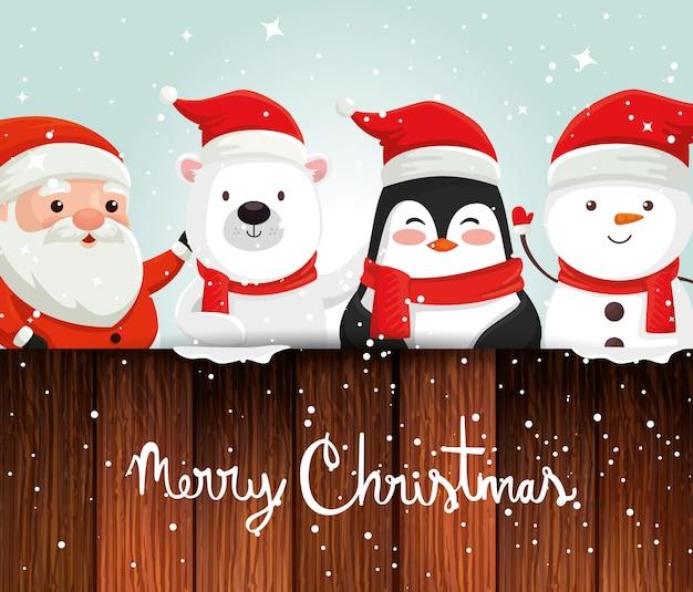 Tarjeta con personajes navidad y decoracion