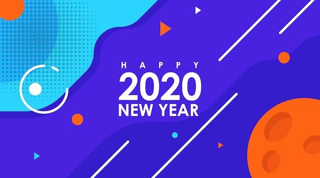 Tarjeta plana moderna de feliz año nuevo 2020 en diseño de memphis