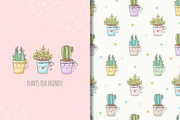 Tarjeta de plantas de casa dibujado a mano de сute y patrones sin fisuras
