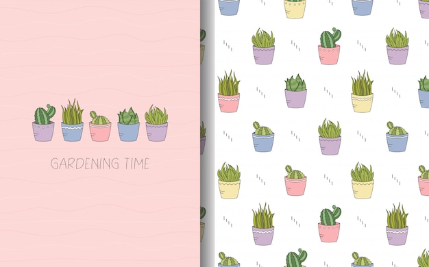 Tarjeta de plantas de interior con texto y conjunto de patrones sin fisuras.