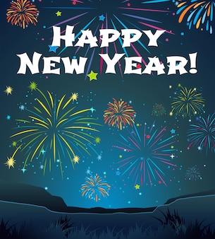 Tarjeta de plantilla para el año nuevo con fondo de fuegos artificiales