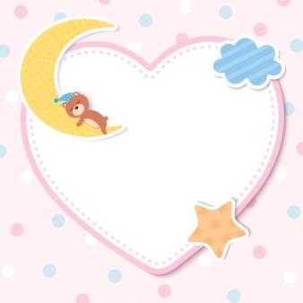 Tarjeta de plantilla de baby shower con oso en la luna