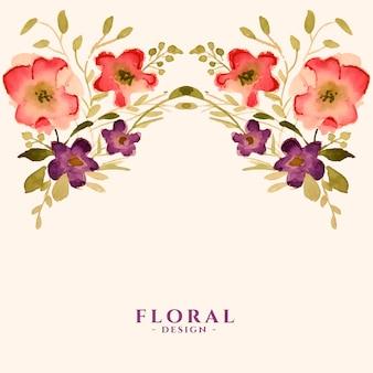 Tarjeta de plantilla de decoración floral de flores acuarela