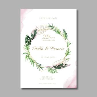 Tarjeta de plantilla floral de aniversario de 25 años