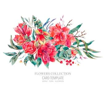 Tarjeta de plantilla floral de vector de flores rojas amaryllis