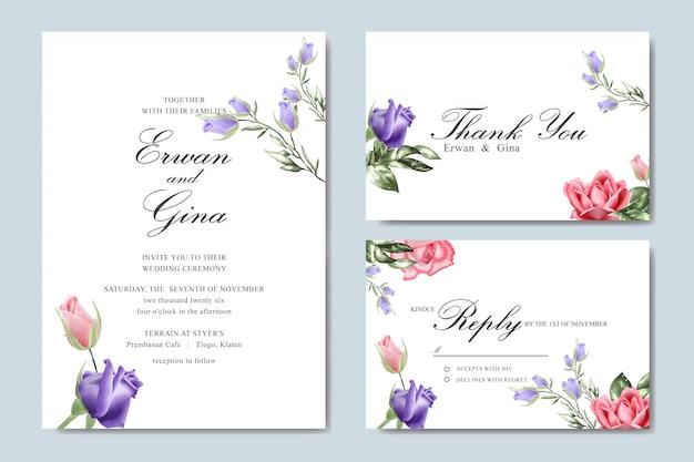 Tarjeta de plantilla de invitación de boda con acuarela floral