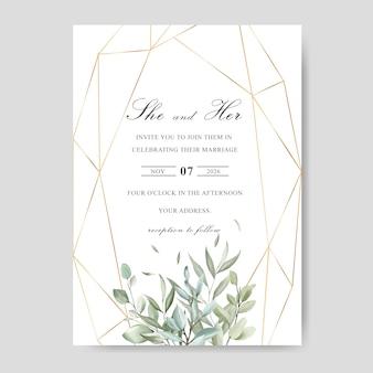 Tarjeta de plantilla de invitación de boda acuarela con hojas verdes