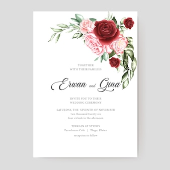 Tarjeta de plantilla de invitación de boda acuarela