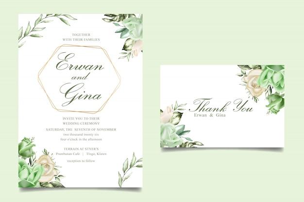 Tarjeta de plantilla de invitación de boda floral acuarela