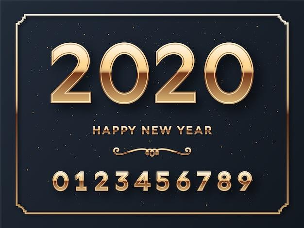 Tarjeta de plantilla de números de feliz año nuevo