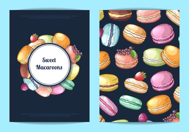 Tarjeta, plantilla de volante para dulces o pastelería con ilustración de macarrones dibujados a mano color