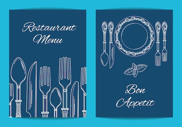 Tarjeta, plantilla de volante para el menú del restaurante o cafetería con exquisita ilustración de vajilla dibujada a mano