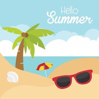 Tarjeta de playa tropical de vacaciones de verano