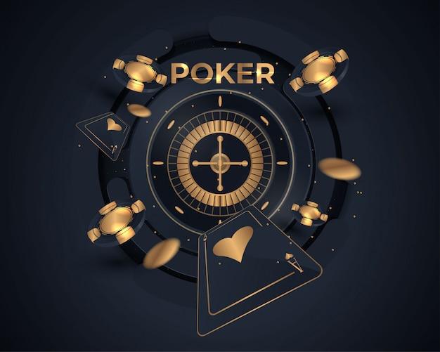 Tarjeta de póker de casino y diseño de rueda de ruleta.