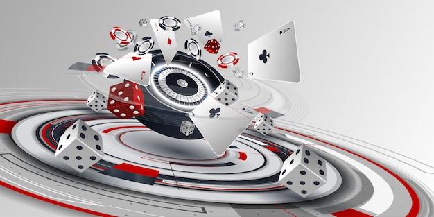 Tarjeta de póker de casino y elementos de la ruleta.